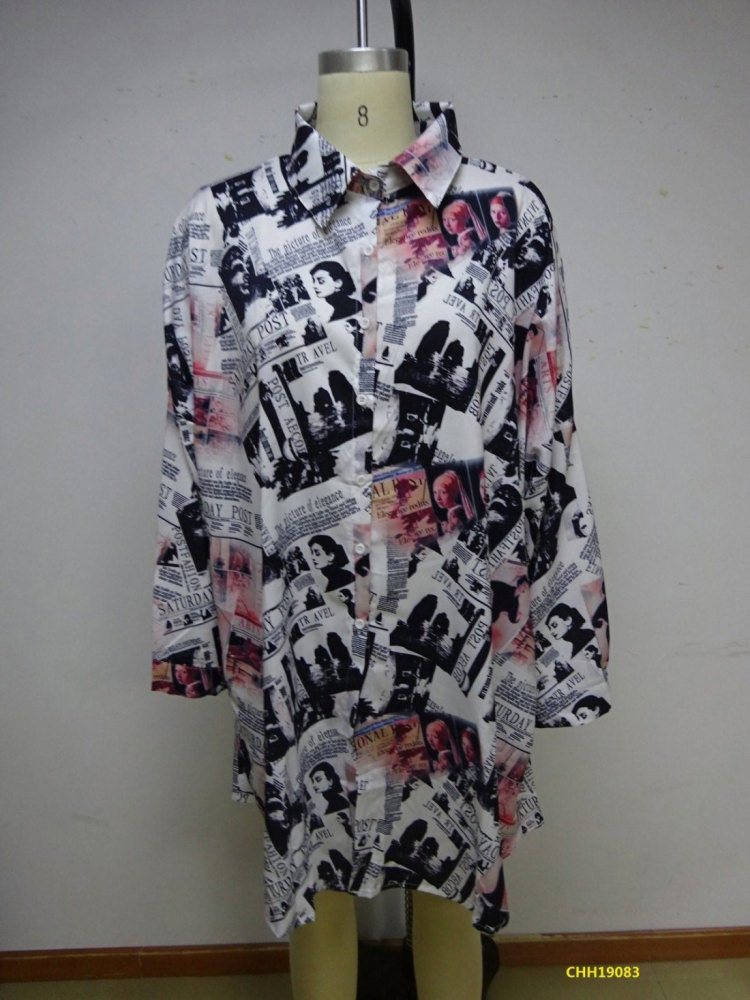 CHH19082...84- Satin Digital Print Button Down Shirt/Dress - (3-PCS PRE-PACK) ($20 Each )