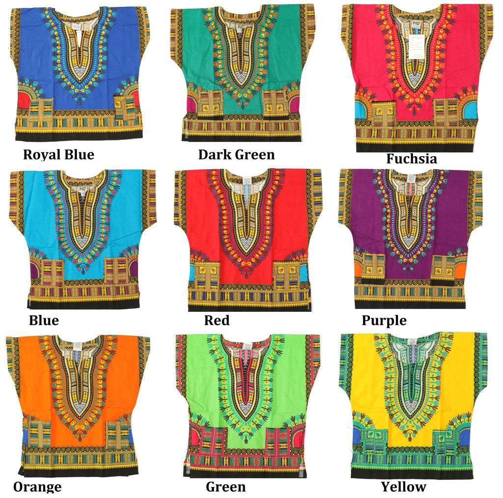 PNA-708-KIDS - 100% Cotton Dashiki T-Shirt for Kids - Unisex (12-PCS PRE-PACK)