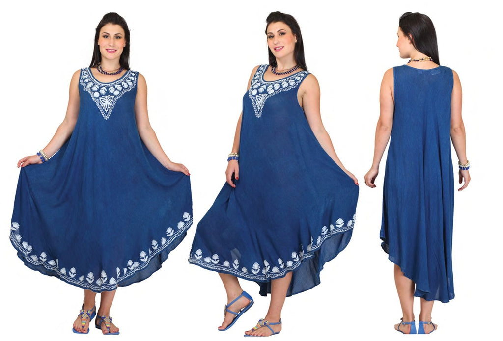 PNA-1124 - Women's Lightweight Denim Pattern Sleeveless Umbrella Dress - (6-PCS PRE-PACK) ($6 Each)