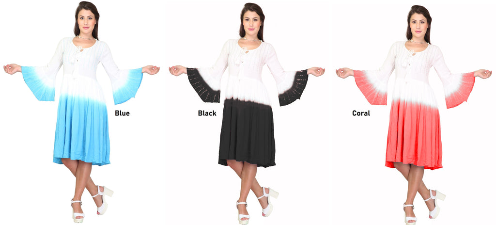 PNA-1140- Colorful Knee-Length Dress with Flared 3/4 Sleeves (6-PCS PRE-PACK)
