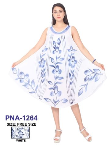 PNA-1264 - Women's Lightweight Sleeveless White Umbrella Dress - (6-PCS PRE-PACK) ($6 Each)