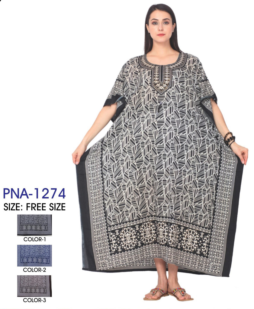 PNA-1274 - Women's Beautiful Print Long Kaftan Dress - One Size (12-PCS PRE-PACK-$6 Each)