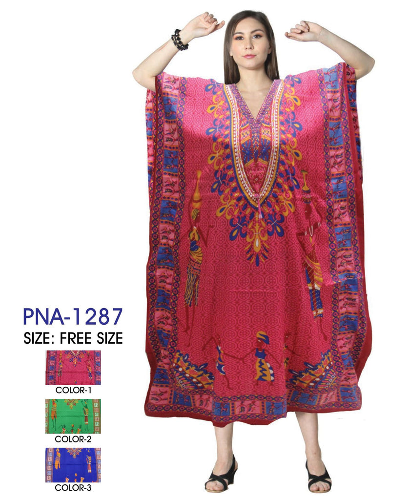 PNA-1287 - Women's Colorful People Print Long Kaftan Dress - One Size (12-PCS PRE-PACK-$6 Each)
