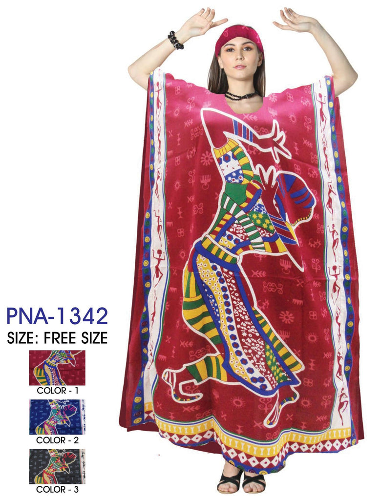 PNA-1342 - Women's Colorful Dancing Print Long Kaftan Dress - One Size (12-PCS PRE-PACK-$6 Each)