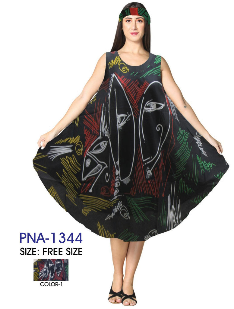 PNA-1344 - Women's Lightweight Sleeveless Umbrella Dress With Scarf - (6-PCS PRE-PACK) ($8 Each)