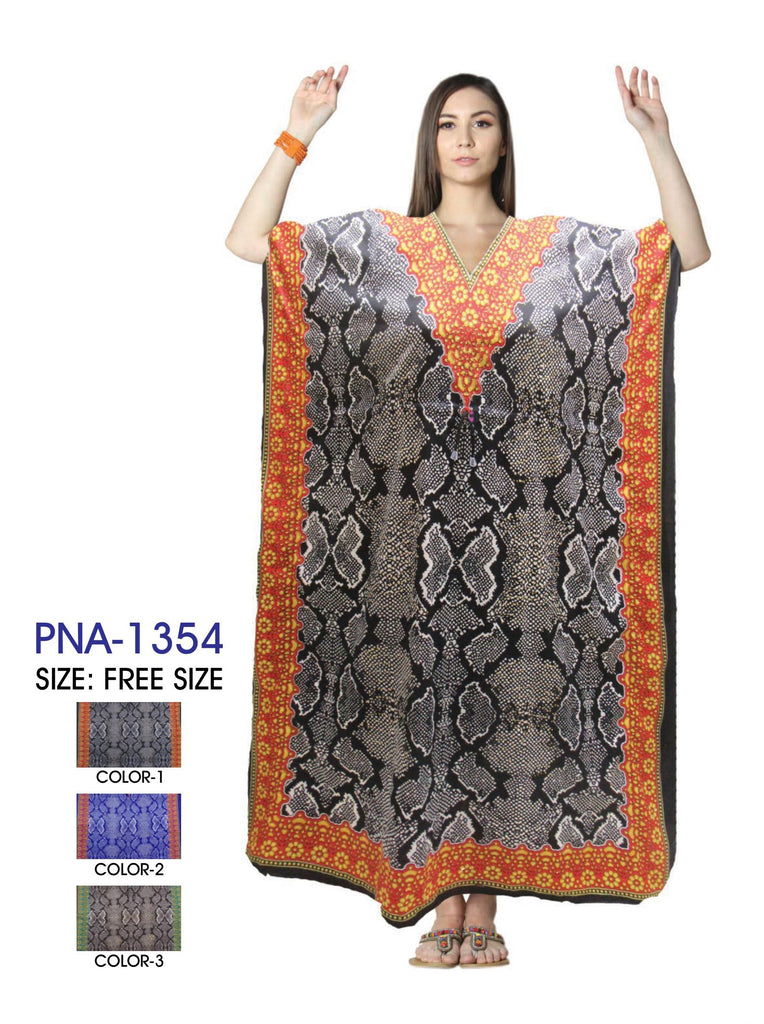 PNA-1354- Women's Colorful Snake Print Long Kaftan Dress - One Size (12-PCS PRE-PACK $6 Each)