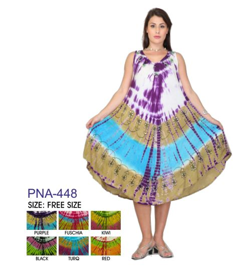 PNA-448 - Women's Tye-Dye Sleeveless Umbrella Dress - (12-PCS PRE-PACK - 6 COLORS) ($6 Each)