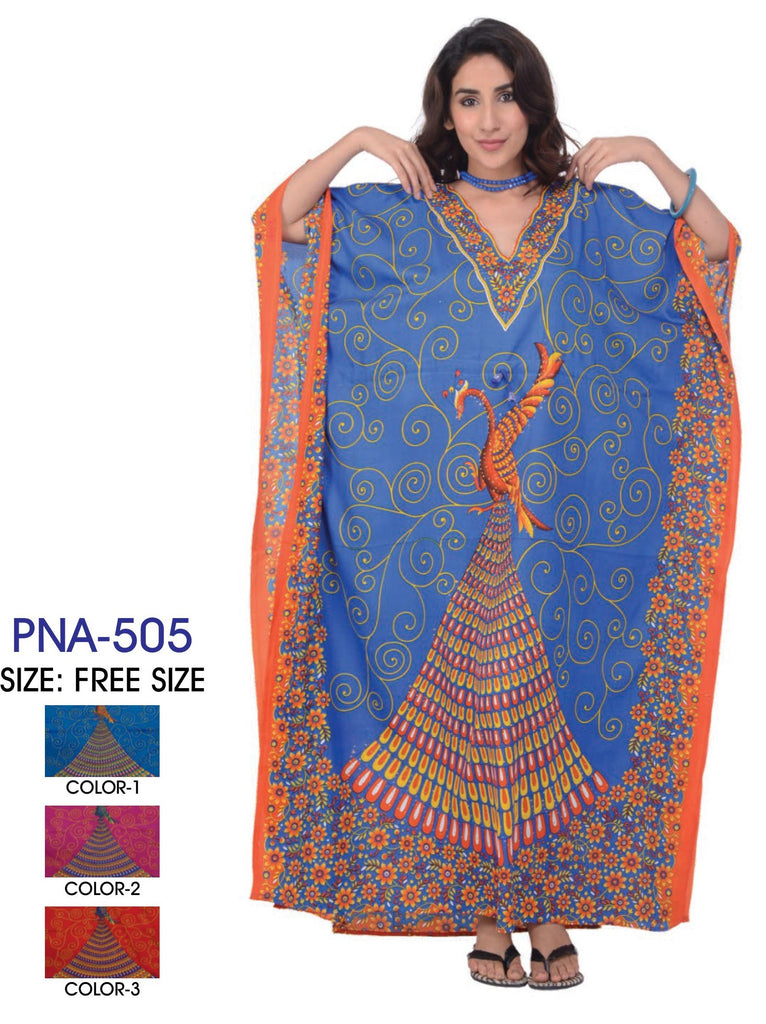 PNA-505- Women's Colorful Print Long Kaftan Dress - One Size (12-PCS PRE-PACK)