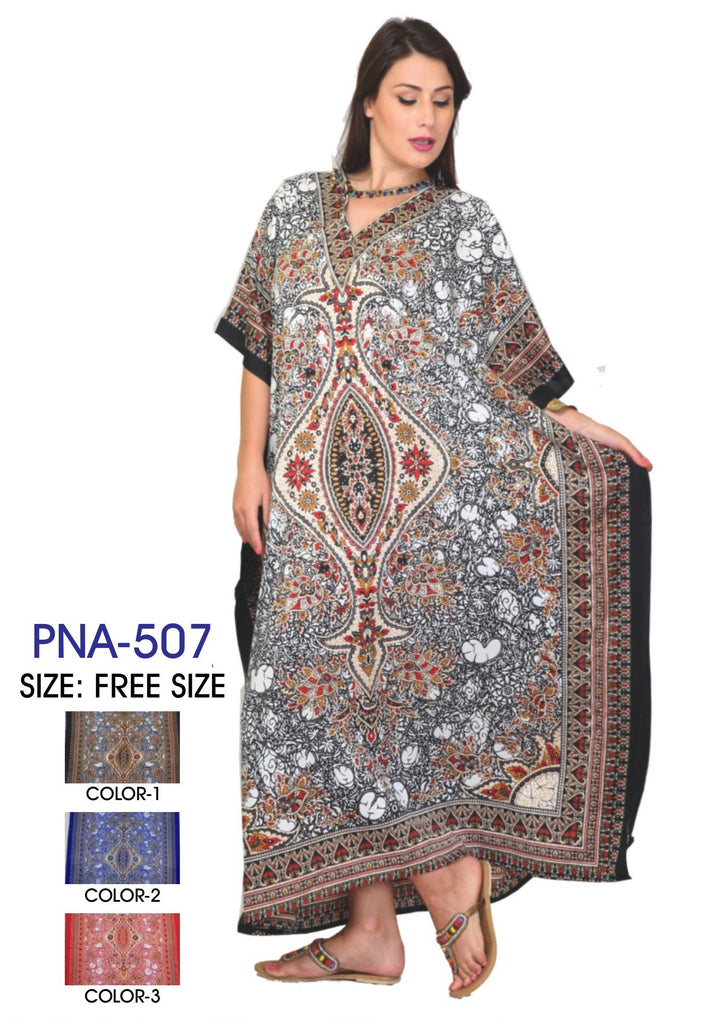 PNA-507- LADIES PRINTED MICRO KAFTAN WITH GLITTERS AND WITHOUT DRAW STRING IN LONG LENGTH - One Size (12-PCS PRE-PACK)
