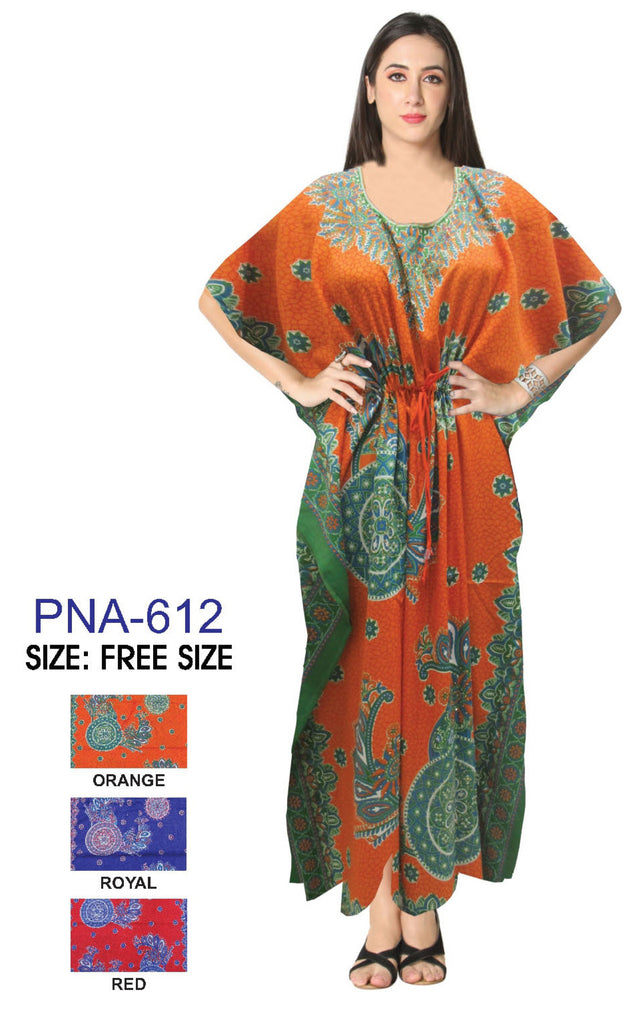 PNA-612- Women's Colorful Print Long Kaftan Dress - One Size (12-PCS PRE-PACK - 3 COLORS)