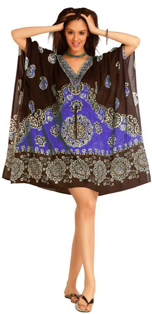 PNA- 915 - Women's Short Kaftan Cover up Tunic - One Size (12-PCS PRE-PACK)