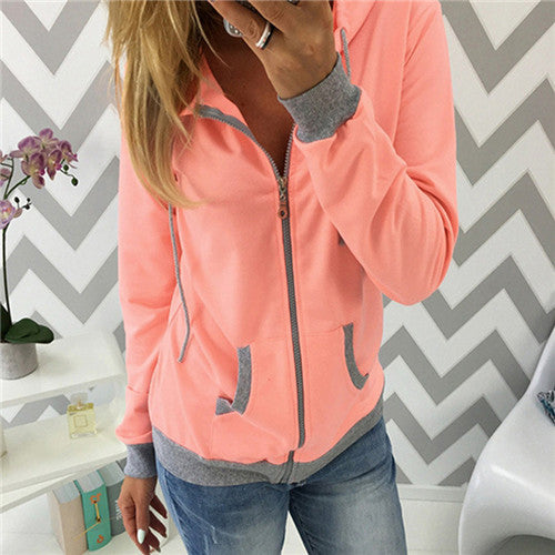 Women's Long Sleeve Zipper Hoodie - Premium-Hoodies.com