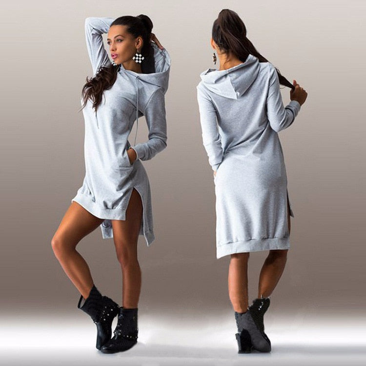 Women Pullover Fleece Hoodie Dress - Premium-Hoodies.com