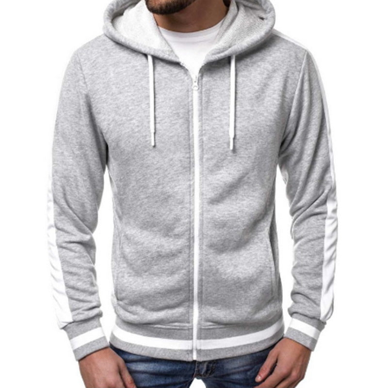Mens Casual Striped Zipper Hoodies - Premium-Hoodies.com