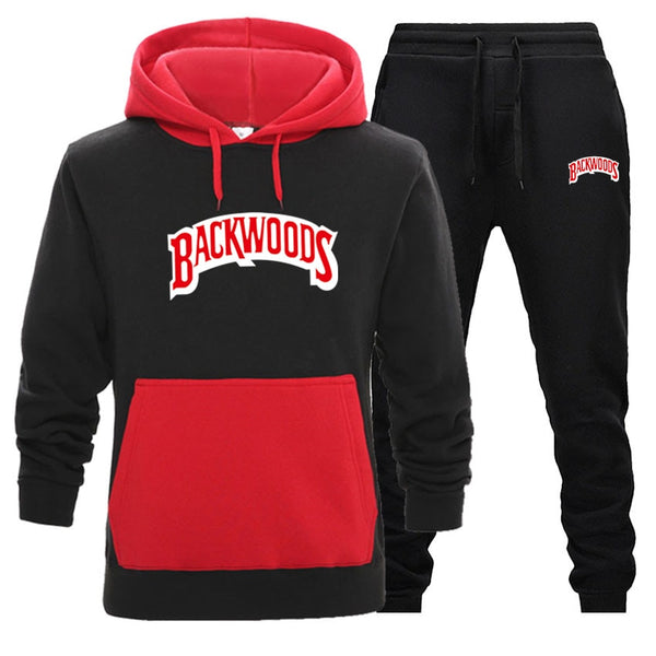 Red/Black Streetwear BACKWOODS Hoodie set Tracksuit Men Thermal Sportswear Sets Hoodies and Pants Suit Casual Sweatshirt Sport Suit