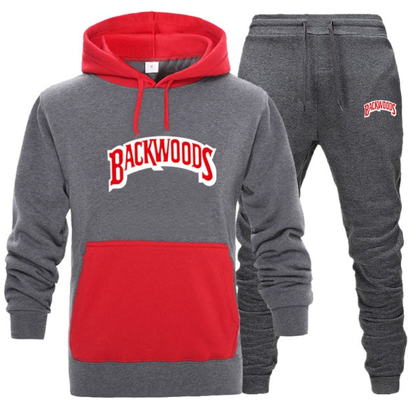 Grey/Red BACKWOODS 2pcs Hoodies and Pants Sets