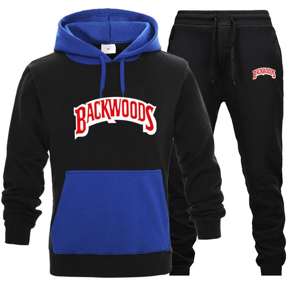 Black/Blue BACKWOODS 2pcs Hoodies and Pants Sets