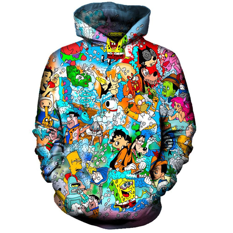 Men's 3D Print Cartoon Hoodie - Premium-Hoodies.com