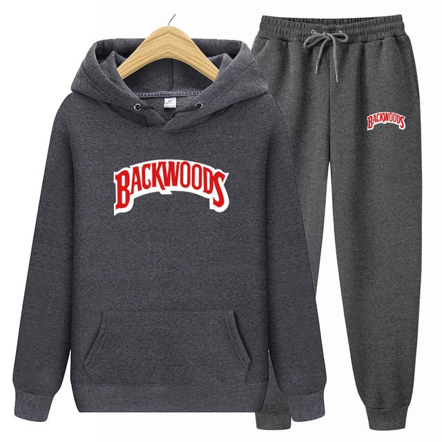 BACKWOODS Hoodie & Pants Dark Grey Tracksuit Set