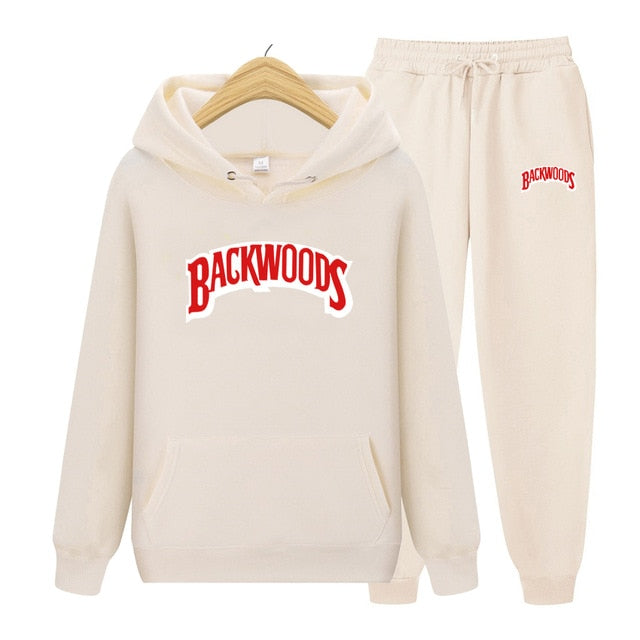 BACKWOODS Hoodie & Pants Off White Tracksuit Set