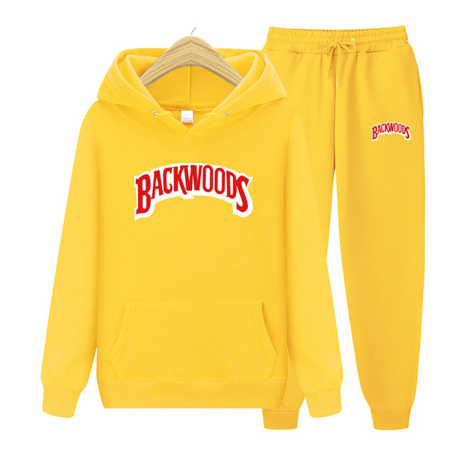BACKWOODS Hoodie & Pants Yellow Tracksuit Set