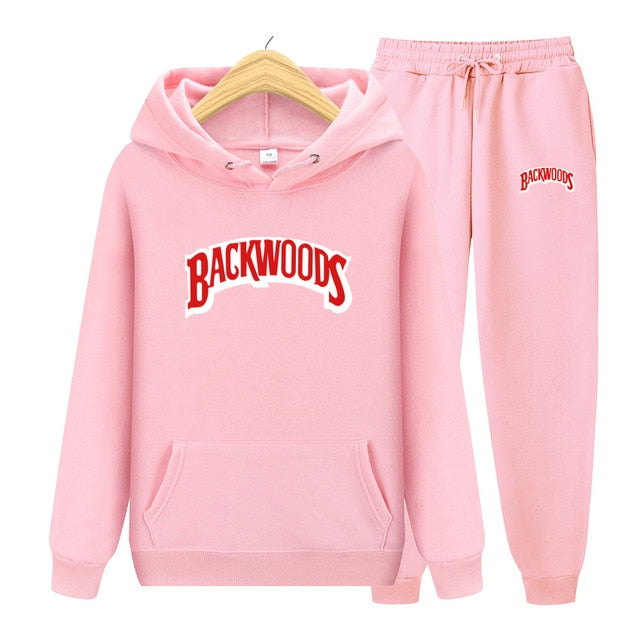 BACKWOODS Hoodie & Pants Pink Tracksuit Set