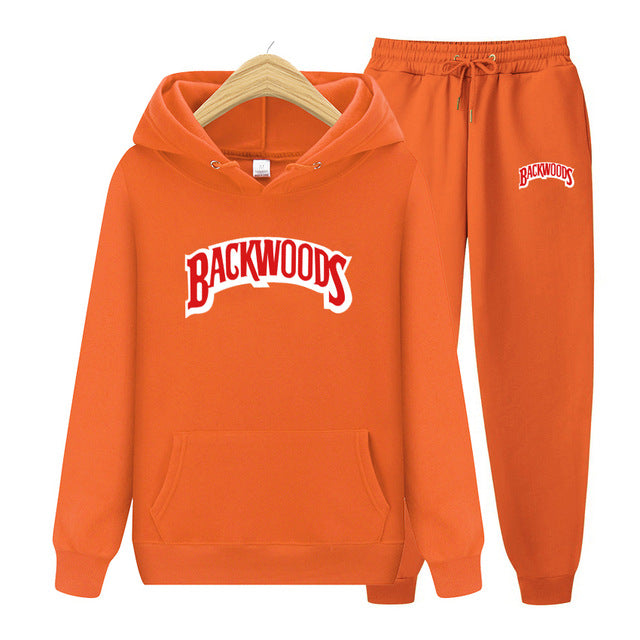 BACKWOODS Hoodie & Pants Orange Tracksuit Set