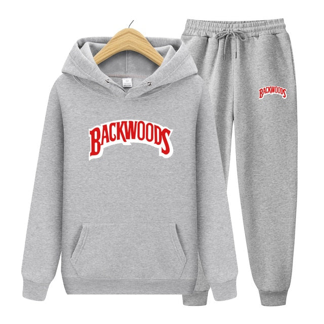 BACKWOODS Hoodie & Pants Light Grey Tracksuit Set