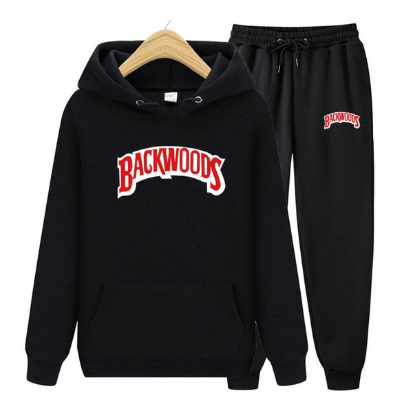 BACKWOODS Hoodie & Pants Black Tracksuit Set