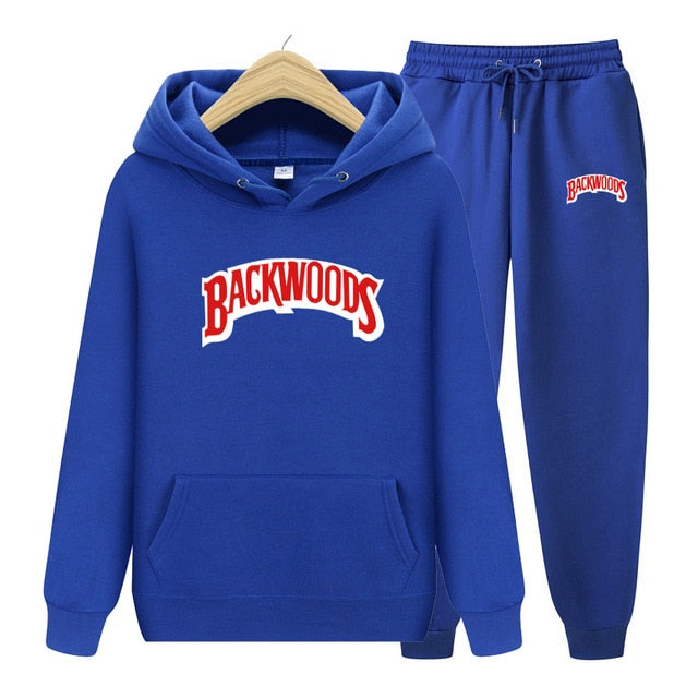 BACKWOODS Hoodie & Pants Blue Tracksuit Set