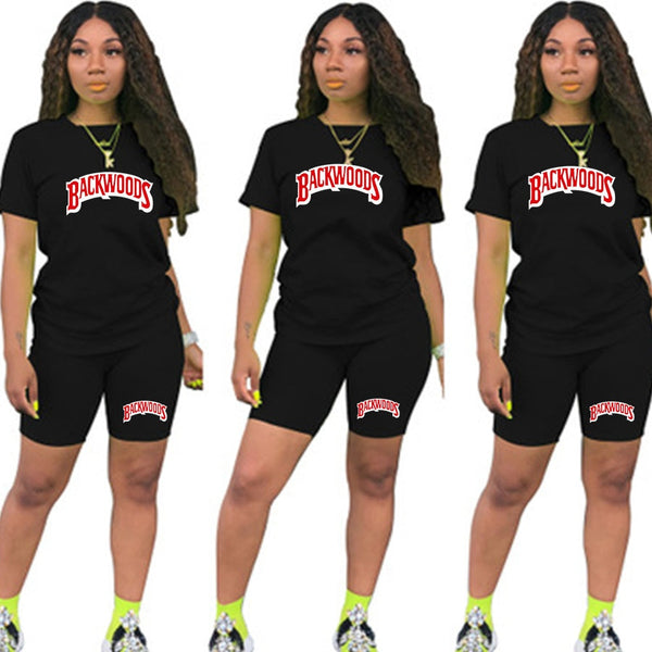 Women BACKWOODS T-Shirt Top And Biker Shorts 2 Pcs Set