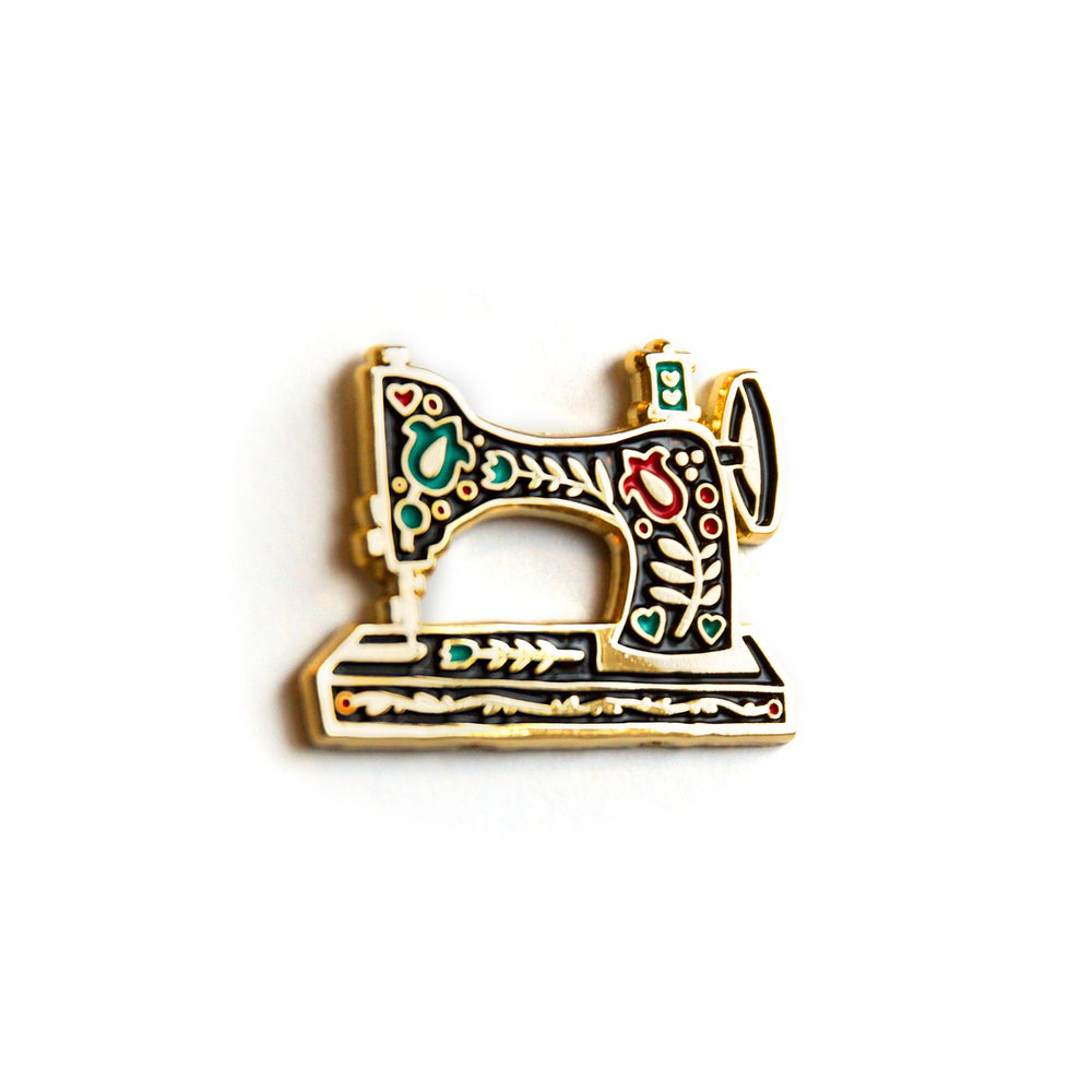Vintage Sewing Machine (Black) - Enamel Pin