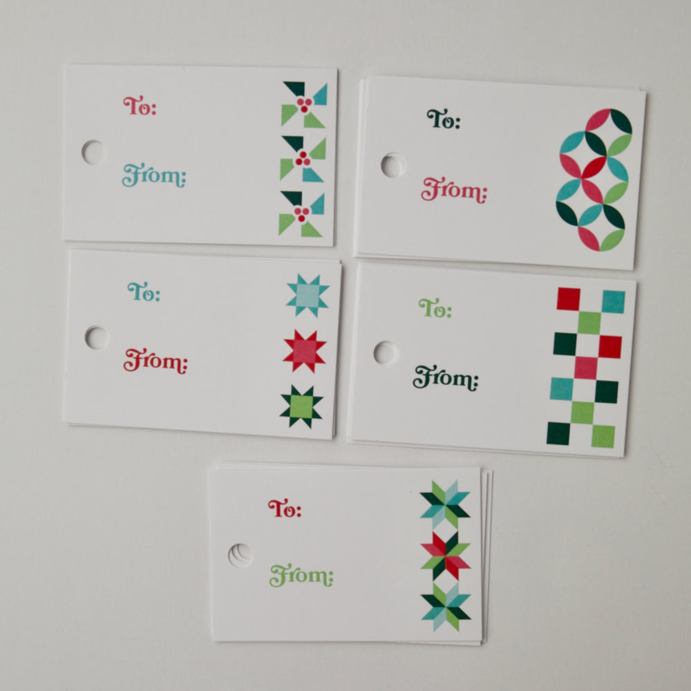 Load image into Gallery viewer, Quilty Holiday Gift Tags - 20 pack
