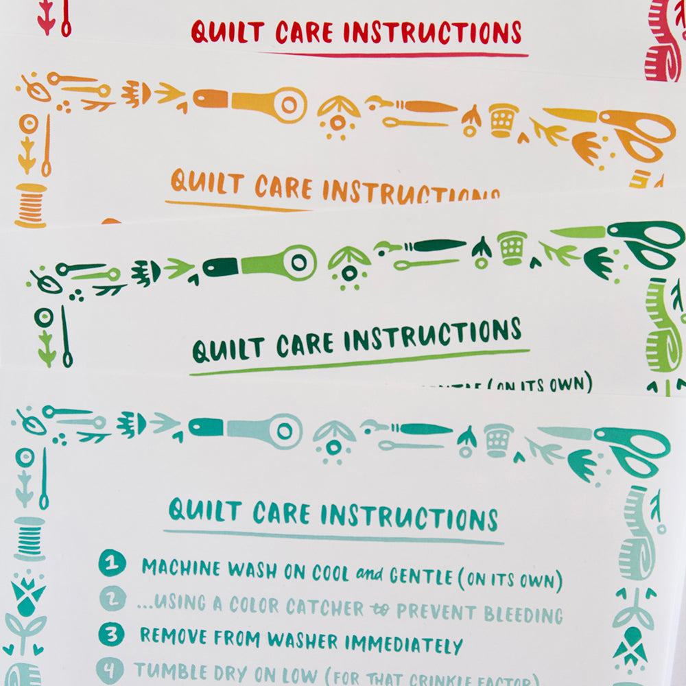 Quilt Care Instruction Cards - 12 pack