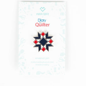 Star Block Enamel Pin (By Diary of a Quilter) - Maker Valley
