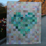Pixelated Heart Quilt Kit - Aqua