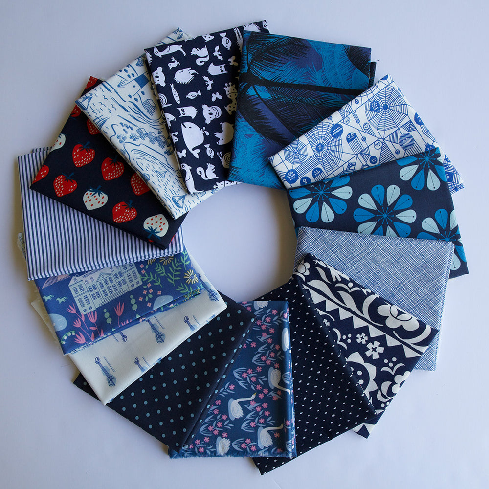 Load image into Gallery viewer, Navy - Fat Quarter Bundle