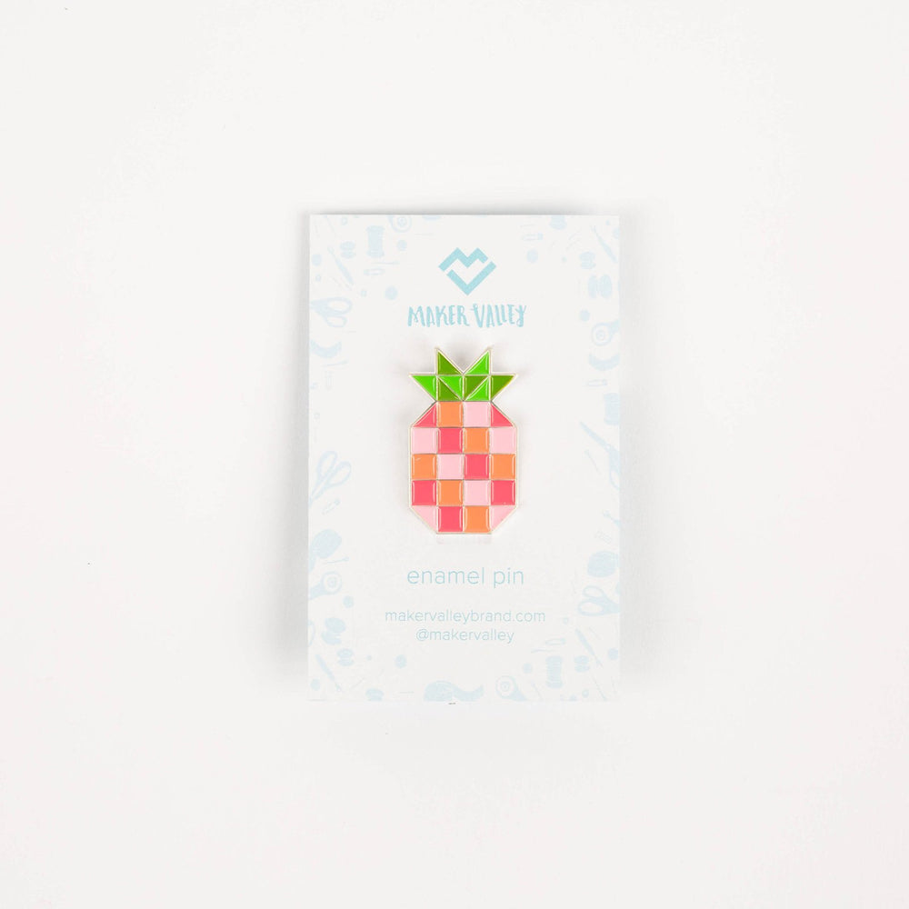 Pineapple Block - Enamel Pin - Maker Valley