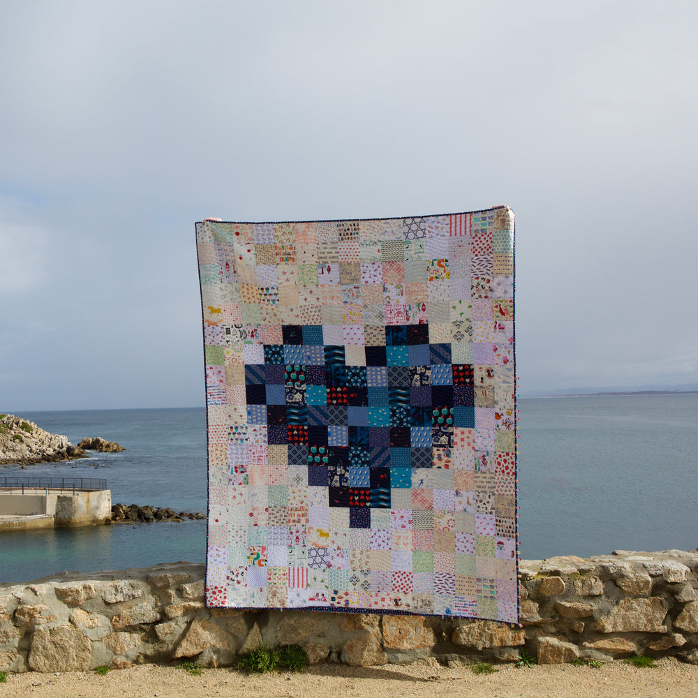 Pixelated Heart Quilt Kit - Navy