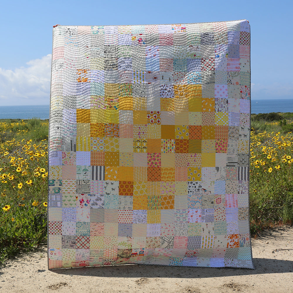 Pixelated Heart Quilt Kit - Yellow