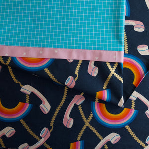 Social Rainbows and Phones (Navy) - Pillow Case Kit