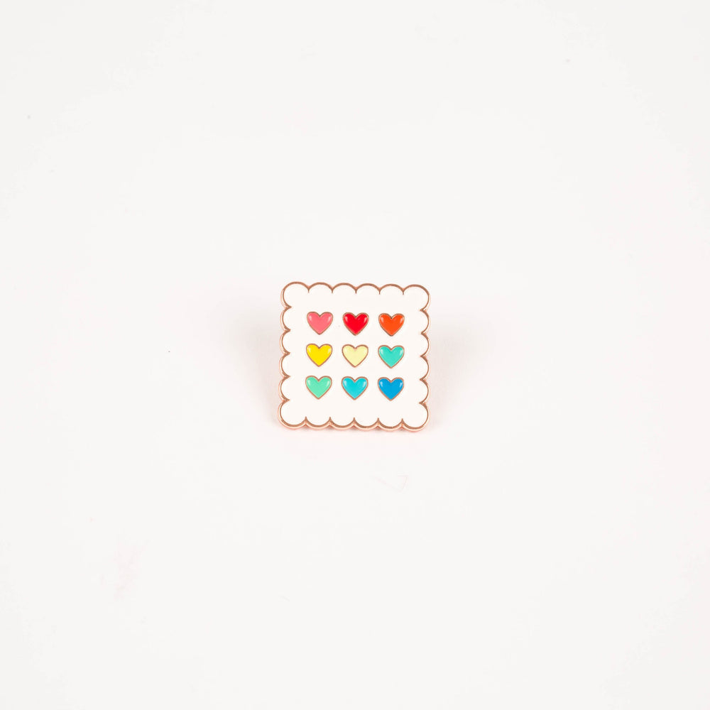 Scalloped Hearts Enamel Pin (By Just Add Sunshine)