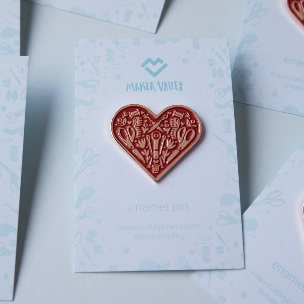 Red Sewing Heart - Enamel Pin