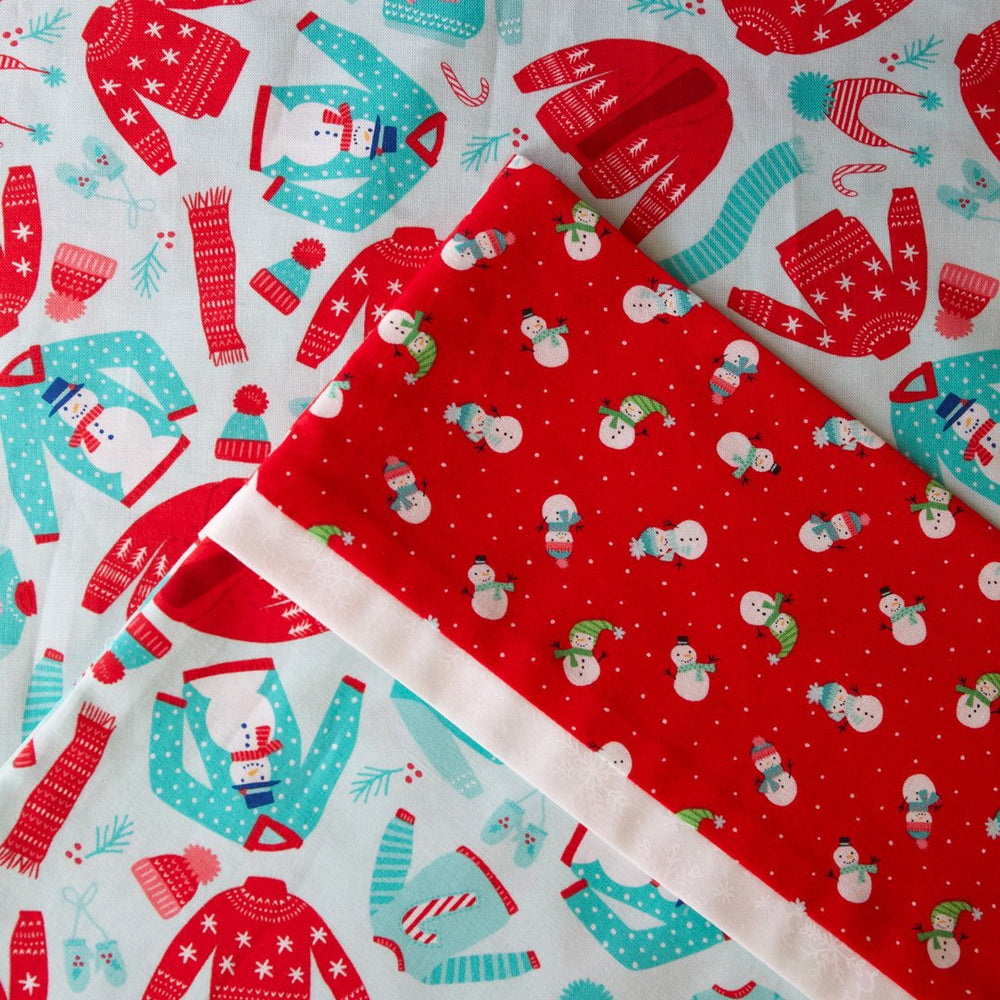 Snow Day Sweaters (Aqua) - Pillow Case Kit