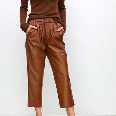 Women's leather trousers high  pants