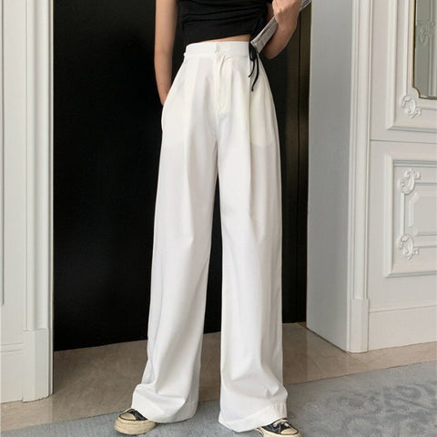 Slimming White Loose Pants