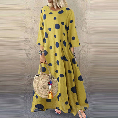 Women  Casual O-Neck Long Sleeve Dot Dress