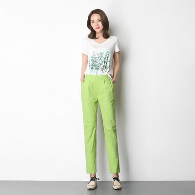 women's stretch linen pants