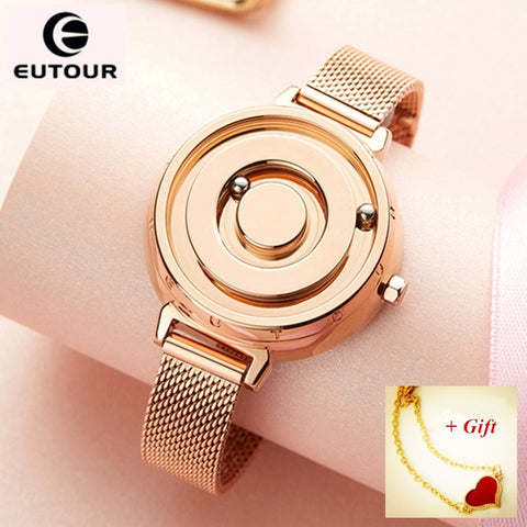 EUTOUR Ladies Magnetic Watches Women Watch Luxury Gold Quartz - Amine Store