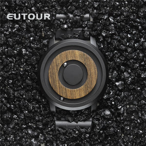 EUTOUR minimalist Novelty Wood Dial Scaleless Magnetic Watch - Amine Store